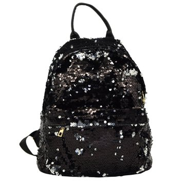 BLACK SEQUIN BACKPACK -0