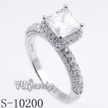 Moda rhodium fantasia chapeado anel CZ com prata 925 (S-10200)