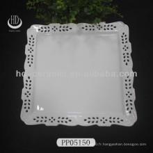 Assiette gravée en porcelaine, assiette d'hôtel utilisée, plaque creuse pour décoration