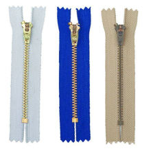 4# Yg/GS Semi Auto Lock, Brass Zipper