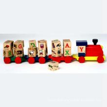 Pädagogisches Spielzeug Holz Spielzeug Zug mit Alphabet Blöcke