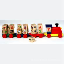 educational toy wooden toy train with alphabet blocks
