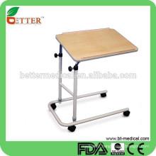 hot sale! U base Tilt top over bed/beside table for hospital use (height adjustable)