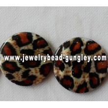 Leopard стиль печати пресноводных стеклянные бусы