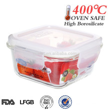 Easylock square silicone lid glass food container