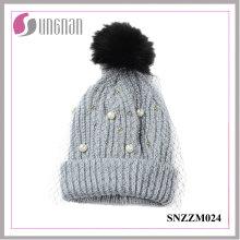 2016 Multicolor Perle Strass Damen Elegante Mesh Gestrickte Wolle Hüte