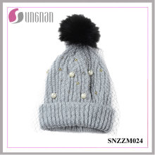 2016 Multicolor Pearl Rhinestone Ladies Elegant Mesh Knitted Wool Hats