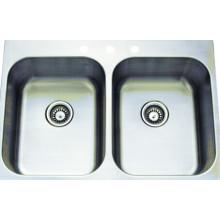 Aço inoxidável handmade bacia dupla lavagem pia (ktd3322e)