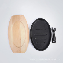 Hot Sale Pre-Seasoned Cast Iron Sizzler Plate with Wooden Base