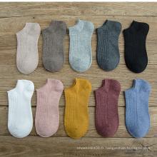 chaussettes no show coton couleur bonbon pour femme