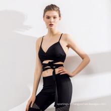 Mode Couture Slim Fitness Femmes Yoga Costume Pantalon Sport Soutien-Gorge Sportswear Ensemble