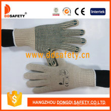 4 Threads Natural Cotton or Polyester String Knit Gloves with Dark Green PVC Dots One Side Ce 10100