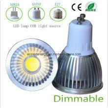 Dimmable 5W blanco GU10 COB LED de luz