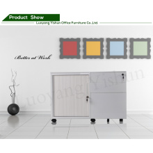 mobile tambour door filing cabinet with 2 shelves