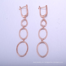 resultados únicos de la joyería largos pendientes sexy con rosa plateado