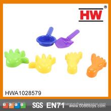 (2 ferramentas + 2 mãos +2 pés) brinquedo de verão de alta qualidade miúdos plástico areia pás