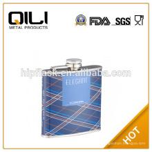transferencia de calor de 6oz color azul promocionales impresión PU cuero metal frasco de la cadera