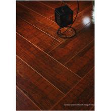 Plancher laminé absorbant le bruit de noix de miroir du miroir E1 HDF de 12.3mm