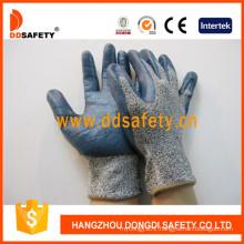 Glass Fiber Liner Cut Resistant Gloves Coating Blue Nitrile Dcr116
