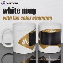 Sunmeta 11OZ Sublimation weißer Becher mit Ventilatorfarbe, die zu niedrigem Preis Großhandel von Sunmeta ändert