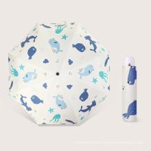 2021 Promotion Cheap Custom Printing 3 Folding Umbrella with Black Glue