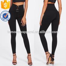 Black Eyelet Lace Up Leggings OEM/ODM Manufacture Wholesale Fashion Women Apparel (TA7036L)
