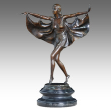 Dancer Figure Statue Fly Lady Bronze Sculpture TPE-458
