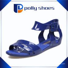 Vente chaude confortables sandales plates bleues pour les filles