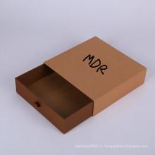 Logo de conception faite sur commande carrée ouvrant la boîte d'emballage ouverte de cadeau de papier de tiroir de papier d'emballage