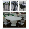 Dia. 180cm Blow Mold HDPE Plastic Lightweight Portable Stackable Easy Storage Folding Round Table (HQ-Y180)