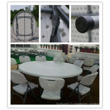 Dia. 180cm Blow Mold HDPE Plastique léger Portable empilable Easy Storage Table ronde pliante (HQ-Y180)