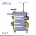 AG-ET017 six tiroirs avec chariots d'hôpital en plastique médicaux d'ABS de corps de clef de verrouillage central
