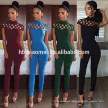 New Arrival Sexy Women Casual Sweat Sport Suit High Waist Hollow Out Club Fitness Wear Womens Jumpsuits Sexy Bodycon