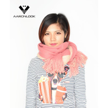 Lady′s Soft Acrylic Double Side Stretch Knit Scarf