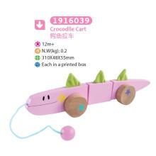 De madera de cocodrilo tirar y empujar juguetes de juguete de madera de juguete para niños
