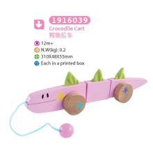Madeira crocodilo puxar e empurrar brinquedo madeira brinquedo puxar para crianças