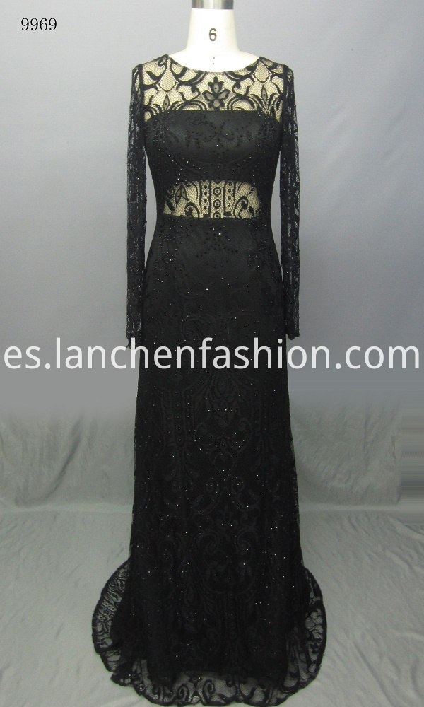 Round Neck Lace Prom Dress