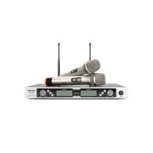 2 канала Профессиональный UHF микрофон с двумя ручными микрофонами или двумя передатчиками