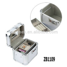 New design arrival aluminum jewelry box with a removable tray inside and a handle on the top
