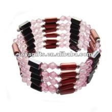 """Los granos de cristal rosados magnéticos envuelven las pulseras y el collar 36 """""""