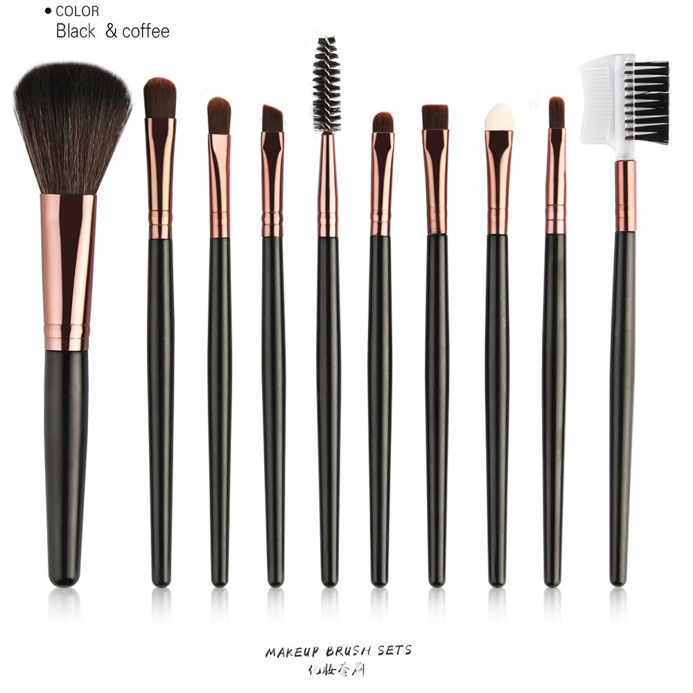 10 Piece Travel Makeup Brushes Set color
