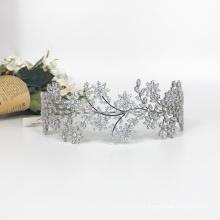 Melhor venda de coroa de tiara de cristal de casamento de noiva brilhante prata de alta qualidade