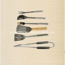 6 piezas de acero inoxidable al aire libre herramientas de barbacoa con caja de aluminio