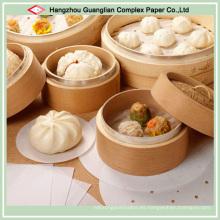 Personalice la almohadilla de papel para hornear con orificios para el uso del vapor de bambú