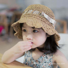 Beach Travelling Summer Bucket Cloche Foldable Straw Hat for Kid Adult Sun Protection