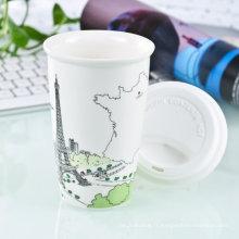 Tasse de voyage en porcelaine double mur avec couvercle en silicone (LFR1510)