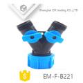 EM-F-B221 Y tipo conector de mangueira de jardim de plástico de 3 vias