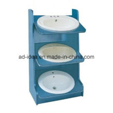 Three Tiers Mtetal Display Cabinet/ Display for Wash Basins Presentation