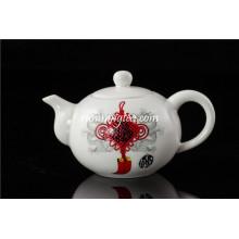 Olla de té de porcelana de nudo chino