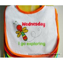 OEM Produce Customized Design Printed Cotton White Baby Wear Feeder Apron